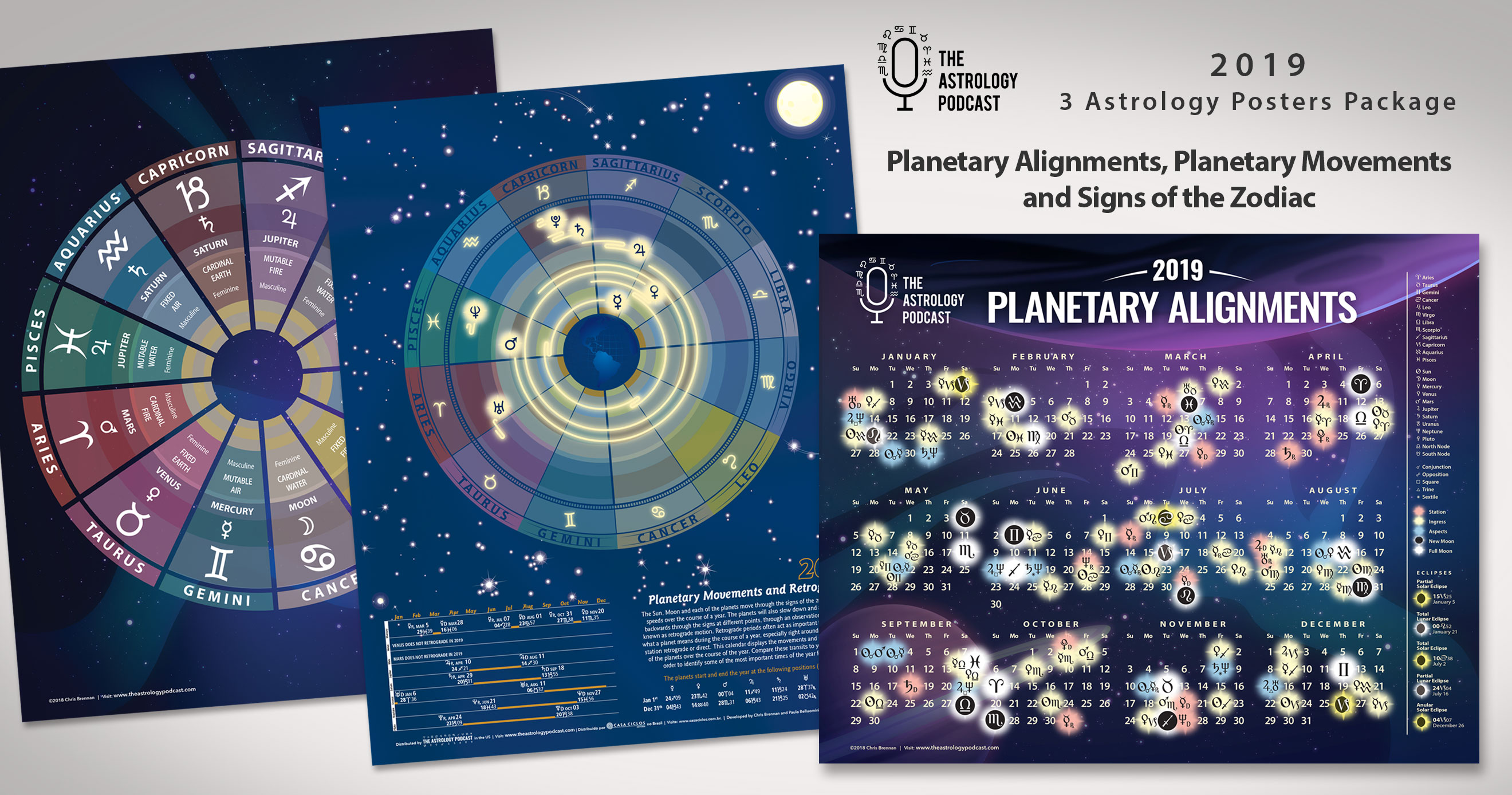 2019 Astrology Calendar 3 Poster Package - The Astrology Podcast