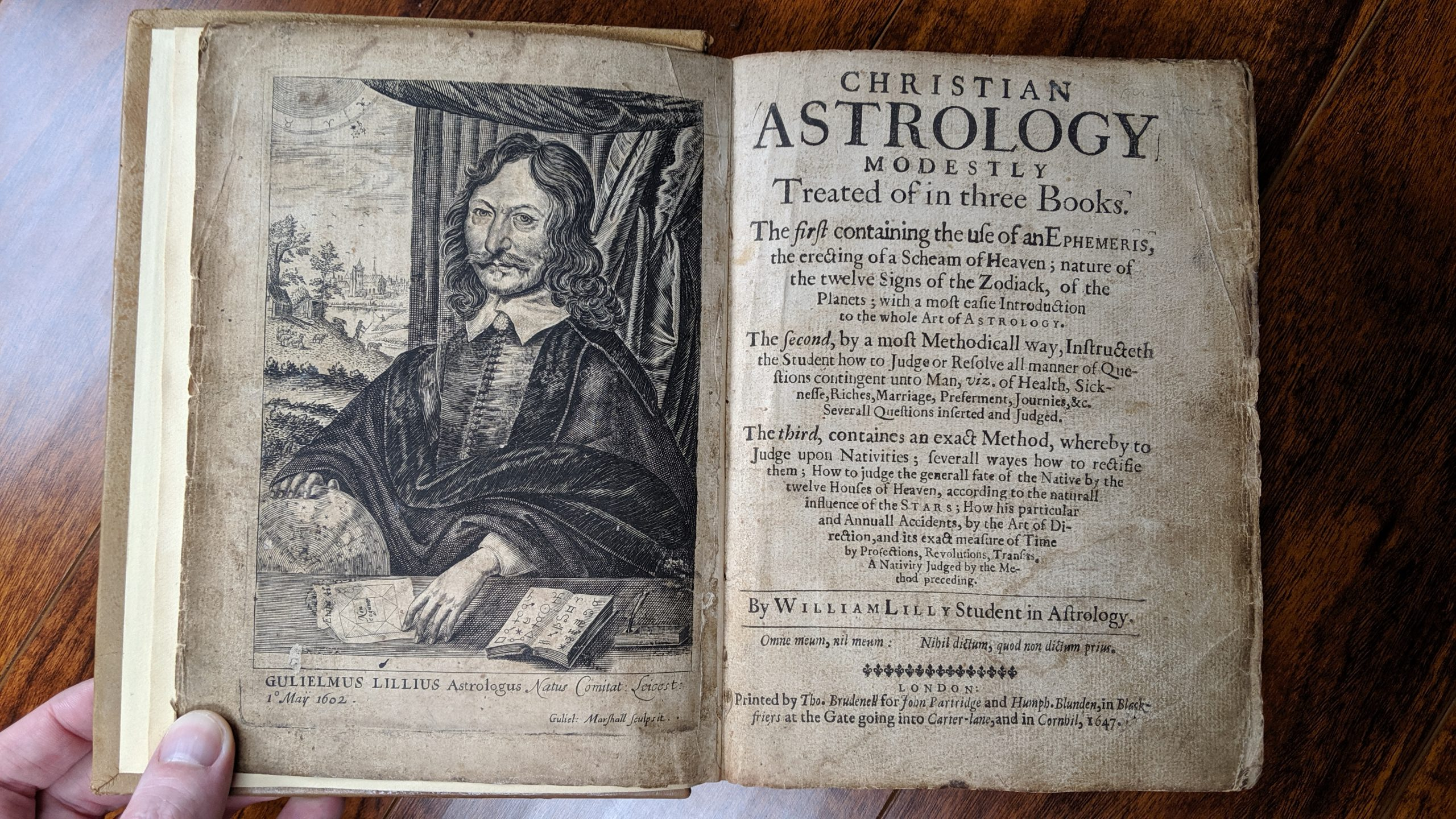 William Lilly Portrait and Christian Astrology Title Page